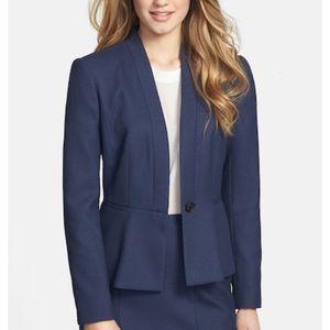 Halogen NWOT peplum Navy tailored suit blazer